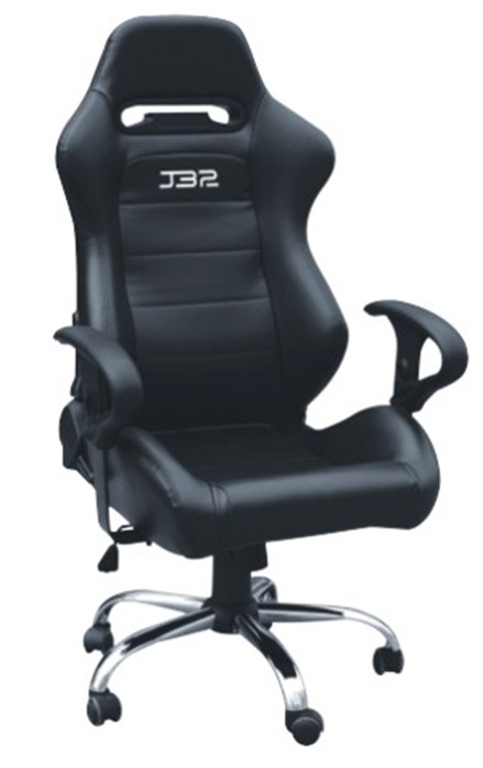 Modern Style Racing Office Computer Chair Gaming chair with single adjustor PVC black